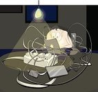 IPod,Men,Netbook,Wire Rope,Outlet,Rope,Dark,Electric Lamp,Gray,Electrical Equipment,One Person,Loneliness,Portable Information Device,Telephone,Checking the Time,Solitude,Domestic Room,equipments,Working,Occupation,Cable,Power Line,Night,Laptop