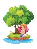 Smiling,Power,Animal,Lifestyles,Island,Sea,Branch,Grass,Lake,River,half-human,Mermaid,Image,Computer Graphic,Plant,Tree,Backgrounds,Women,template,Clip Art,People,Vector