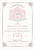 Invitation,Cakestand,Lace - Textile,Sweet Sixteen,Party - Social Event,Copy Space,Cake,Vector,Frame,Announcement Message,Dessert,Elegance,Birthday,Pink Color,Femininity,Celebration,Collection