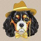 Professor,Eyeglasses,Bow Tie,Close-up,Vector,Animal,Monocle,Dog,Purebred Dog,Sketch,Fun,Elegance,Cute,Hipster,Hat,Modern,Men,mister,Tie,Gold Colored,Mod,Cartoon,King Charles Spaniel,Cavalier King Charles Spaniel,Fashion,Funky,Mr,Spaniel,Puppy,Style,White,Mascot,Pets,Humor