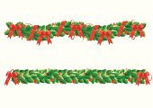 Garland,Christmas,Frame,Holiday,Celebration,Christmas Decoration,Backgrounds,Green Color,foliagé,Christmas Ornament,Vector,Pattern,Hanging,Isolated,Bow,Red,Set,White,Ilustration,Christmas,Winter,Leaf,Winterberry Holly,Illustrations And Vector Art,Group of Objects,Part Of,Holidays And Celebrations,Holiday Symbols,Nature,Season,Cultures,Decoration,Berry Fruit,Ribbon