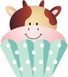 Icing,Food,Young Animal,Sweet Food,Cake,Cow,Cupcake,Animal,Dessert,Party - Social Event,Ilustration,Vector,Isolated,Computer Graphic,Animated Cartoon,Clip Art,Baby