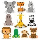 Zoo,Animal,Giraffe,Childhood,Africa,Hippopotamus,Vector,Crocodile,Ilustration,Zebra,Wildlife,Cute,Toy,Multi Colored,Alligator,Cub,Nature,Computer Graphic,Lion - Feline,Rhinoceros,Tropical Rainforest,Sitting,Collection,Mammal,Elephant,Bear