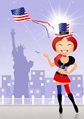 Joy,Happiness,Ilustration,Baby,Women,Red,Blue,Hat,Celebration,Flag,The Americas,Holiday,Independence,Day,Event,July,Creativity