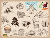 Farm,Old-fashioned,Tractor,Retro Revival,Horse Cart,Sketch,Cattle,Backgrounds,Cow,Vegetable,Barrel,Hay,Tree,Chicken,Mandarin Orange,Sign,Squash - Vegetable,Raw Food,Equipment,Set,Ladle,Rye,Bread,Fruit,Vector,Loaf of Bread,Pulley,Ilustration,Population Explosion,Design,Computer Graphic,Drawing - Art Product,Watermill,Basket,Carrot,Pumpkin,Design Element,Single Object,Decoration,Nature,Barley,Sunflower,Crop,Collection,Agriculture,Beet,Painted Image