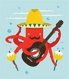 Octopus,Cartoon,Music,Underwater,Guitar,Latin American Culture,Latin American and Hispanic Ethnicity,Vector,Art,Sombrero,Playing,Guitarist,Maraca,Mustache,Multi Colored,Musician,Water,Folk Music,Dancing,Music Festival,Happiness,Hat,Simplicity,Computer Graphic,Flat,Ilustration,Vibrant Color,Modern,National Landmark,Red,Cheerful,Macho,Holiday