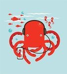 Music,Octopus,Underwater,Cartoon,Sea Horse,Vector,Listening,Design,Flat,Multi Colored,Music Festival,Smart Phone,Headphones,sea-horse,Playing,Fish,devil-fish,Dancing,Water,Computer Graphic,Modern,Red,Art,Vibrant Color,Simplicity,Disco Dancing,Musician,Ilustration,Disco