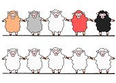 Animal Hand,Cooperation,Human Hand,Vector,Animal,Livestock,Ilustration,Cute,hand drawn,Sheep,Full Length,Standing,Happiness,Variation,New Year's Day,Japanese New Year,Simplicity,bipedal,Five Animals,Sparse,Joy,Holding Hands,New Year,Togetherness,Multi Colored,Medium Group Of Animals,Friendship,Bonding,Drawing - Art Product,White Background,Front View,Unity,Symbols Of Peace,Tranquil Scene,Set