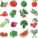 Tomato,Food,Fig,Apple - Fruit,Fruit,Acorn Squash,Vegetable,Healthy Eating,Ilustration,Icon Set,Watermelon,Chili Pepper,Radish,Cabbage,Leek,Vector,Low Calorie Food,Strawberry,Cherry,Green Pea,Celery,Spanish Onion,Broccoli,Green Bell Pepper