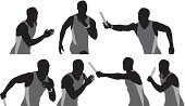 Relay Baton,Muscular Build,Athlete,Clip Art,Competitive Sport,Computer Graphic,Action,Competition,On The Move,Sports Race,Track And Field Athlete,Sports Uniform,Silhouette,Shape,Professional Sport,Running,Digitally Generated Image,Front View,Holding,Horizontal,Waist Up,Vector,Wristwatch,Track And Field,Ilustration,Male,Track Event,Side View,One Person,Motion,Men,Masculinity,Sports Clothing