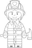 Modern,Cartoon,Cool,Cute,Smiling,Uniform,Characters,Axe,Outline,Arson,Emergency Services Occupation,Heroes,Occupation,Clip Art,Assistance,Firefighter,Emergency Services,Isolated,Equipment,Fire Station,Smoke Jumper,Ilustration,Vector,Badge,Work Helmet,Black And White