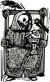 War,Crow,Spirituality,Dead Person,Death,Wineglass,Dead,Fantasy,Religion,Wine,Throne,Animal Skeleton,God,Afterlife,Depression - Sadness,Raven,Grim Reaper,Human Skeleton,Woodcut,Epidemic,kingdom,Hell,Horror,King,God
