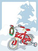 Bicycle,Christmas,Gift,Winter,Red,Holiday,Tree,Cute,Snow,Cheerful,Lifestyle,Holidays And Celebrations,Christmas,Illustrations And Vector Art,Families,Vector Cartoons,Scarf,Cold - Termperature,Happiness,White,Blizzard
