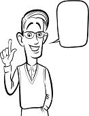 Coloring Book,Speech Bubble,Caucasian Ethnicity,Stereotypical,Speech,Nerd,black-and-white,Black And White,Humor,Gesturing,Standing,Facial Expression,Ilustration,Vector,Caricature,Men,People,Emotion,Human Face,Waist Up,Adult