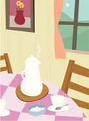 Domestic Kitchen,Dining Table,Table,Domestic Room,Indoors,House,Chair,Afternoon Tea,Ilustration,Vector,Tea - Hot Drink,Home Interior,Cottage,Window,Home Sweet Home,Residential Structure,Teapot,Tablecloth,Sugar Cube,Spoon,Tea Cup,No People,Teaspoon,Steam,Food And Drink,Medium Group of Objects,Lifestyle,Drinks,Families,Lifestyle Backgrounds