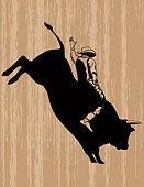 Bull - Animal,Rodeo,Bull Riding,Cowboy,Riding,Silhouette,Vector,Cartoon,Wood - Material,Textured,Animal,Black Color,Cowboy Hat,Ilustration,Jumping,Line Art,Men,Brown,Clip Art,One Person,Adult,Strength