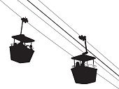 Silhouette,Overhead Cable Car,Gondola,Mid-Air,Amusement Park Ride,vector illustration,Steel Cable,Mode of Transport,Ski Lift,Cable Car,Vector,Ilustration