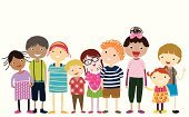 Ilustration,Children Only,Child,Drawing - Art Product,Preschooler,Dancing,Group Of People,Smiling,Happiness,Cheerful,Childhood,Standing,Isolated,Friendship,Ethnicity,Cute,Vector,Cartoon,Little Boys,Little Girls
