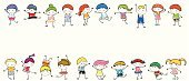 People,Friendship,Happiness,Joy,Horizontal,Dancing,Cheerful,Drawing - Art Product,Jumping,Standing,Multi Colored,In A Row,Childhood,Fun,Child,Cute,Stick Figure,Illustration,Cartoon,Line Art,Child's Drawing,Sketch,Group Of People,Boys,Girls,Vector,Preschool Age,Vibrant Color,White Background,Preschool Student