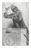 Handgun,Vertical,Portrait,One Person,Old,Waist Up,Weapon,Black And White,Ilustration,Old-fashioned,Looking At Camera,Senior Adult,Image Created 19th Century,Jean Paul Marat,French Culture,White Background,Ancient,Antique,France,French History,Extremism,French Revolution,Engraved Image,Leadership,Drawing - Art Product