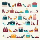 Bag,Store,Backgrounds,Multi Colored,Fashion Bag,Fashion,Business Case,Suitcase,High Heels,Symbol,Briefcase,Handle,Women Shoes,Fashion Women,Group of Objects,Collection,Sandal,Flat Icons,Ilustration,Luxury,Colors,Vector,Pattern,Clothing,Personal Accessory