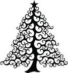 Christmas Tree,Christmas,Tree,Silhouette,Black Color,Swirl,Vector,Decoration,Ornate,Plant,Art,Traditional Festival,Star Shape,Christmas,Illustrations And Vector Art,Holidays And Celebrations