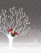 Christmas,Cardinal,Winter,Bird,Tree,Wreath,Silhouette,Snow,Red,Animal Nest,Branch,Snowing,Vector,Gray,Ilustration,Vector Cartoons,Winter,Nature,Illustrations And Vector Art,Decoration