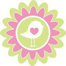 Bird,Clip Art,Silhouette,Flower,Pastel Colored,Heart Shape,Cartoon,Single Flower,Animal,Ilustration,Vector,Cute,Fun,Funky,Nature