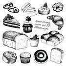 Food,Old-fashioned,Drawing - Art Product,Pencil Drawing,Bread,Engraved Image,Ilustration,Cupcake,Chocolate,Drawing - Activity,Cookie,Macaroon,Cake,Cafe,Pastry,Croissant,Bakery,Dessert,Slice,Snack,Donut,Cheesecake,Loaf of Bread,Cup,Raspberry,Pie,Muffin,Cherry,Bun,Old,Lunch,Flour,Collection,Set,Ink,Speed,Menu,Party - Social Event,Waffle,White,Vector,Sweet Bun,Sweet Food,Store,Yeast