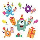 Monster,Birthday Decoration,Birthday,Cute Monster,Birthday Present,Smiling,Ilustration,Vector,Multi Colored