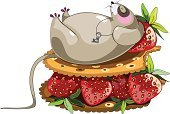 Cartoon,Rat,Food,Strawberry,Mouse,Cracker,Cookie,Dreamlike,Key,Sweet Food,Sandwich,Mammal,Sleeping,Overweight,Necklace,Laziness,Cute,Color Image,Happiness,Fruit,Animal,Lying Down,Vector,Characters,Ilustration