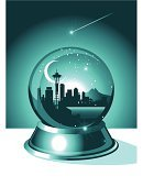 Seattle,Snow Globe,Washington State,Silhouette,Snow,Christmas,Urban Skyline,Winter