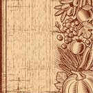 Thanksgiving,Crop,Backgrounds,Brown,1940-1980 Retro-Styled Imagery,Textured,Agriculture,Wood - Material,Woodcut,Chili Pepper,Olive,Grape,Pepper - Vegetable,Bunch,Tomato,Old-fashioned,Ilustration,Autumn,Design,Vegetable,Cultures,Still Life,Corn On The Cob,Rye,Barley,Cereal Plant,Vector,Branch,Vegetarian Food,Holiday,Monochrome,Drawing - Art Product,Food,Olive Branch,Apple - Fruit,Leaf,Print,Season,Space,Pumpkin,Wheat,Fruit