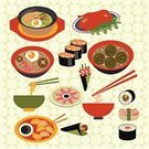 Crockery,Vector,Gourmet,Symbol,Food,Seafood,Ilustration,Sushi,Group of Objects,Steamed,Soup,Rolled Up,Asia,Collection,Freshness,East,Cooking,Caviar,Leaf,Meal,Eating,Sashimi,Restaurant,Chopsticks,Dinner,Computer