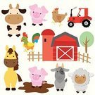 Farm,Tractor,Livestock,Sheep,Horse,Cow,Animal,Cute,Vector,Multi Colored,Cockerel,Hen,Goat