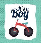 Little Boys,Baby Shower,Greeting,Celebration,New Life,Ornate,Child,Childhood,Cute,Bicycle,Congratulating,Announcement Message,Invitation,Greeting Card,Decoration