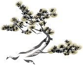 Tree,Chinese Culture,China - East Asia,Old,Japanese Culture,Pine Tree,Evergreen Tree,Needle,Beauty In Nature,Nature,Black Color,Branch,Fir Tree,Ink,Paintings,Painted Image,Japan,Watercolor Paints,Watercolor Painting,Asia,East Asian Culture,Leaf