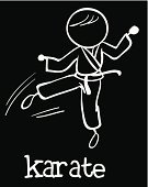 Concentration,Practicing,Violence,Fun,Excitement,Martial Arts,Outline,Speed,Kung Fu,Strength,Activity,Sport,Image,Computer Graphic,Fist,Competition,Black Background,Clip Art,Punching,Kicking,Karate,Vector