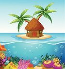 Nature,Vacations,Desert Island,Cottage,Sea Flower,Reef,Blue,Multi Colored,Underwater,Hut,Castaway,Image,Computer Graphic,Scenics,Outdoors,Tree,Island,Beach,Sea,Vector