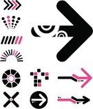 Shape,Arrow Symbol,Funky,Circle,Geometric Shape,Cross Shape,Modern,Symbol,Design Element,Computer Graphic,Vector,Art,Curve,Digitally Generated Image,Creativity,Ilustration,Group of Objects,Icon Set,Outline,Collection,White Background,Isolated On White,Set,Illustrations And Vector Art,Objects/Equipment