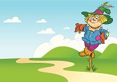 Scarecrow,Landscape,Field,Road,Cloud - Sky,Rural Scene,Characters,Hat,Ghost,Cute,Magic Trick,Gardening,Cartoon,Smiling,Cap,Painted Image,Ilustration,Straw,Symbol,Outdoors,Nature,Season