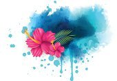 Watercolor Paints,Flower,Sand,Vector,Leaf,Travel,Water,Summer,Sea,Circle,Vacations,Spray,Backgrounds,Fun,Outdoors,Imitation,Splattered,Starfish,Beach,Design Element,Wet,Blue,Image,Nature,Painted Image,Tropical Climate,Hibiscus,Island,Climate,Travel Destinations,Relaxation,Banner,Shadow,Wave Pattern,Multi Colored,Space,Design,Nautical Vessel,Grunge,Sunlight,Blob,Journey,Ilustration