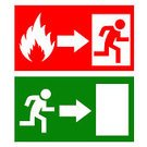 Evacuation,Emergency Exit,Sign,Safety,Fire - Natural Phenomenon,Fire Exit Sign,White Background,Isolated On White,Men,Emergency Sign,Silhouette,Danger,Symbol,Rescue,Risk,Computer Icon,Running,Door,Exit Sign,Banner,Warning Sign,Warning Symbol,Isolated,Clip Art,One Person,Direction,Arrow Symbol,Flame,Placard,Green Color,Red,Ilustration,Label