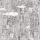 Black And White,Crowded,Seamless,Cityscape,Built Structure,City,Building Exterior,Ilustration,Drawing - Art Product,Airplane,hand drawn,Cartoon,Backgrounds,Pattern,Scribble,Pastel Colored,Vector,Textile,Monochrome,Clock Tower,City Life,Street,Skyscraper