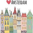 Love,Travel,Cultures,Hipster,City,Drawing - Art Product,Street,Fairy,House,Urban Scene,Journey,Europe,Eyesight,Travel Destinations,Bright,Old,hand drawn,Vector,Tourism,Amsterdam,Window,Vibrant Color,Town,Residential Structure,Built Structure,Architecture,Building Exterior