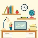 Table,Desk,Laptop,Education,Single Object,Backgrounds,Learning,Domestic Room,Computer,Document,Pencil,Clock,Book,Electric Lamp,Shelf,Bookmark,Ruler,Vector