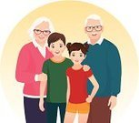 Togetherness,Supporting,Love,Mature Adult,Retirement,Adult,Support,Teenager,Computer Graphic,Vector,Cartoon,Cheerful,Women,Old,Family,Multi-generation Family,Senior Adult,Portrait,Smiling,Clip Art,Care,Grandmother,Grandfather,Child,Offspring,Granddaughter,Grandson,Grandchild,Ilustration