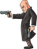 Men,Handgun,Adventure,Safety,Slicked Back Hair,Looking,Stealth,Thief,Assassination,Completely Bald,Ilustration,Suit,Determination,Shaved Head,Concepts,hand drawn,Spy,Characters,Detective,Cool,Gun