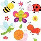 Young Animal,Bee,Animated Cartoon,Ant,Childhood,Insect,Butterfly - Insect,Cute,Ladybug,Animal,Ornamental Garden,Snail,Nature,Set,Life,Fun,Flower,Ilustration,Smiling,Beauty In Nature,Cheerful,Collection,Dragonfly,Characters,Vector