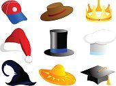 Hat,Graduation,Cartoon,Cap,Symbol,Christmas,Crown,Computer Icon,Cowboy,Vector,Jewelry,Baseball - Sport,Men,Shape,Isolated,Group of Objects,Halloween,Headwear,Headdress,Clip Art,attributes,Design,Ideas,Ilustration,Illustrations And Vector Art,Vector Cartoons,Equipment